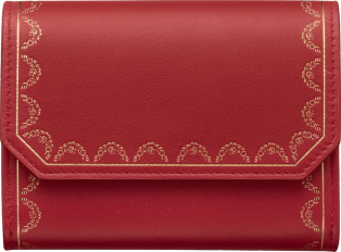 Guirlande de Cartier Small Leather Goods, mini wallet Red calfskin, golden finish