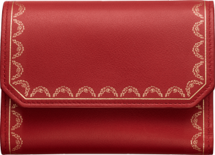 Guirlande de Cartier Small Leather Goods, small wallet Red calfskin, golden finish