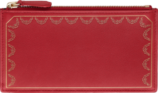 Guirlande de Cartier Small Leather Goods, zipped card holder Red calfskin, golden finish
