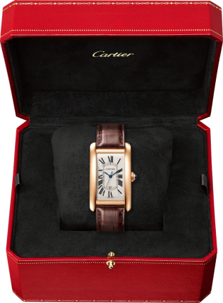Tank Américaine watch Large model, automatic movement, pink gold, leather
