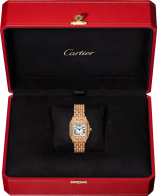 Panthère de Cartier watch Small model, quartz movement, pink gold, diamonds