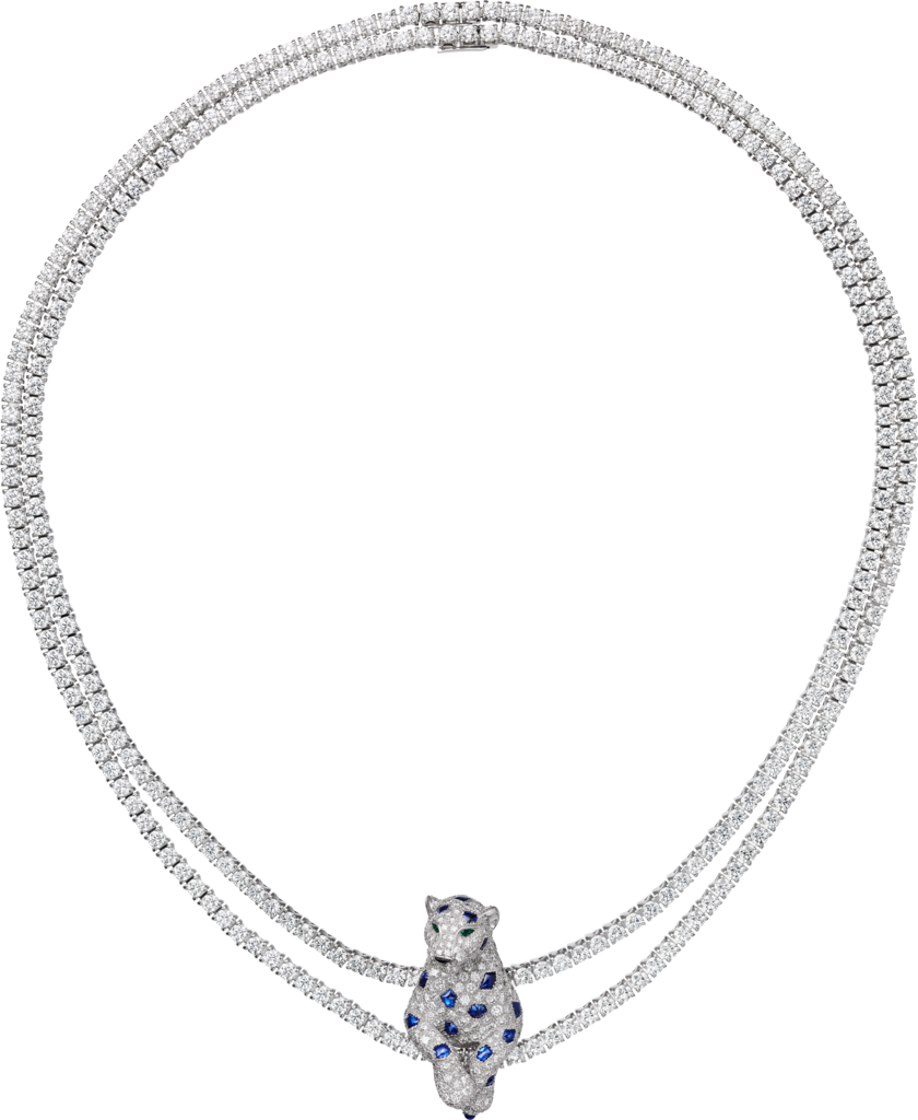 Panthère de Cartier necklaceWhite gold, emerald, sapphire, onyx, diamonds