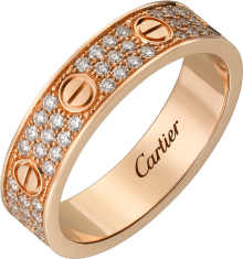 Love wedding band, diamond-paved Pink gold, diamonds