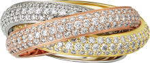 Trinity ring, classic White gold, yellow gold, pink gold, diamonds