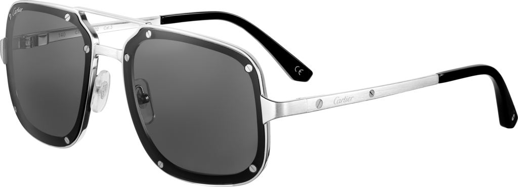 Santos de Cartier sunglassesSmooth and brushed platinum-finish metal, gray lenses