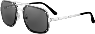 Santos de Cartier sunglasses Smooth and brushed platinum-finish metal, gray lenses
