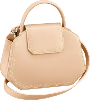 Guirlande de Cartier bag, mini model Powdered beige calfskin, golden finish