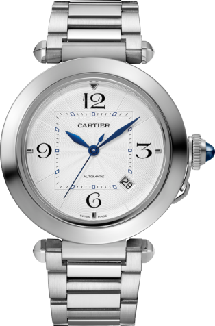 Pasha de Cartier watch 41 mm, automatic movement, steel, interchangeable metal and leather straps