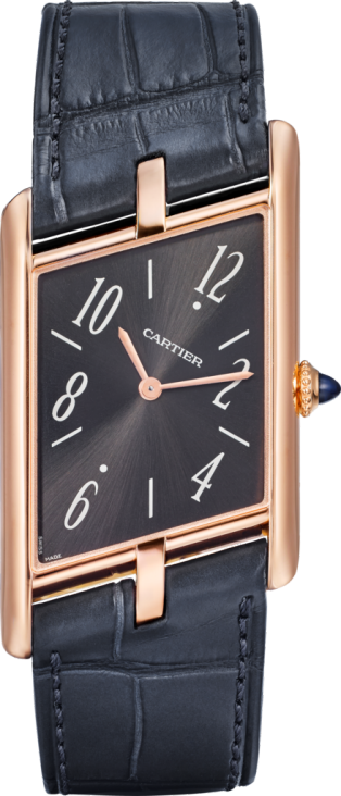 Tank Asymétrique watch Large model, hand-wound mechanical movement, pink gold, leather