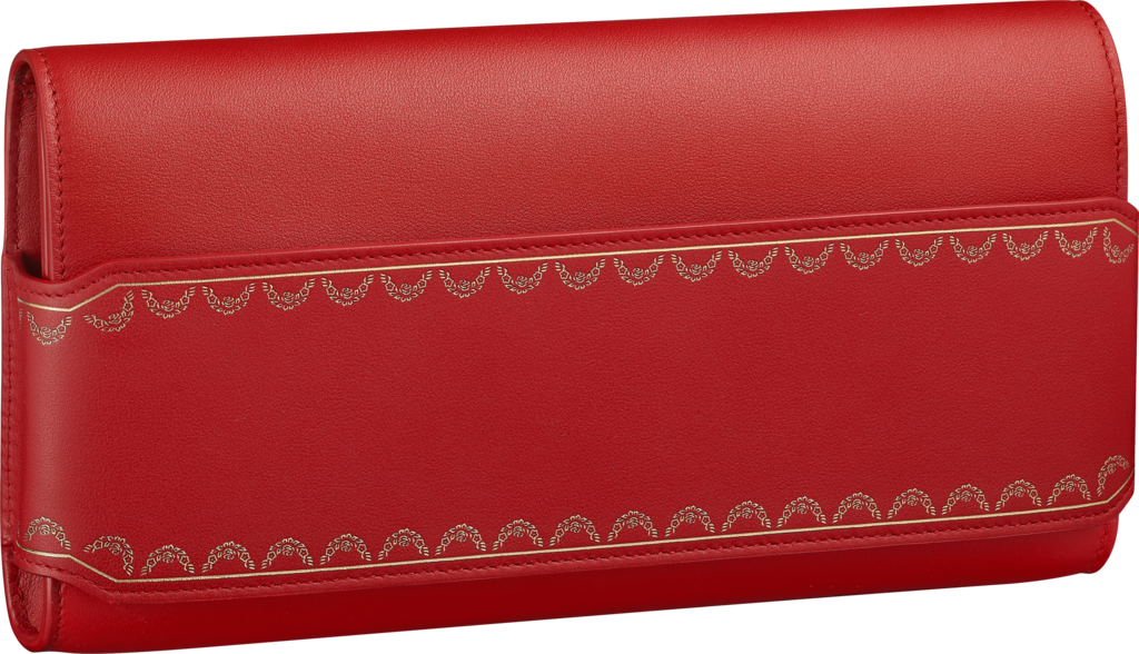 Long Clutch, Guirlande de CartierRed calfskin, golden finish