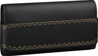 Long Clutch, Guirlande de Cartier Black calfskin, golden finish