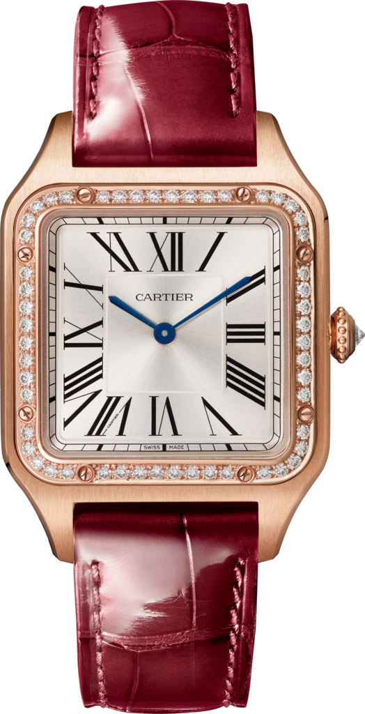 Santos-Dumont watchLarge model, pink gold, diamonds, leather strap
