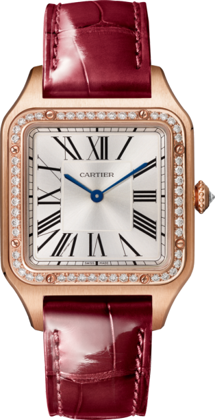 Santos-Dumont watch Large model, pink gold, diamonds, leather strap