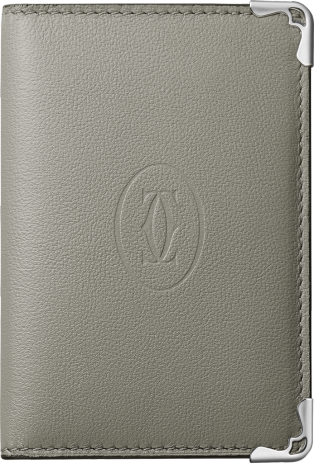 Must de Cartier Small Leather Goods, 4-credit card wallet Gray and green calfskin, stainless steel finish