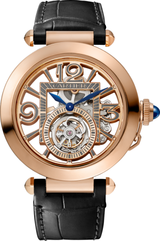Pasha de Cartier watch 41 mm, mechanical movement with manual winding, pink gold, 2 interchangeable leather straps