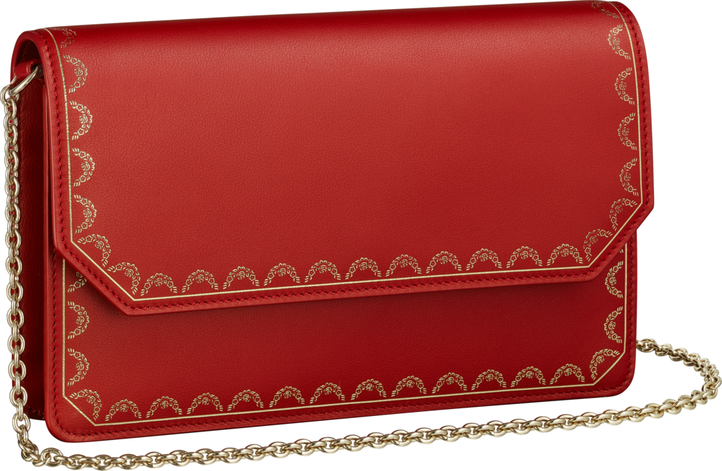 Wallet Bag, Guirlande de CartierRed calfskin, golden finish