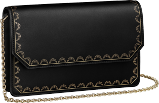 Wallet Bag, Guirlande de Cartier Black calfskin, golden finish