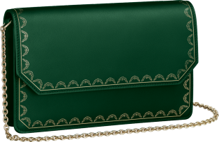 Guirlande de Cartier bag, wallet bag Green calfskin, golden finish