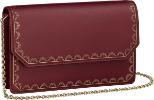 Guirlande de Cartier bag, clutch Burgundy calfskin, golden finish