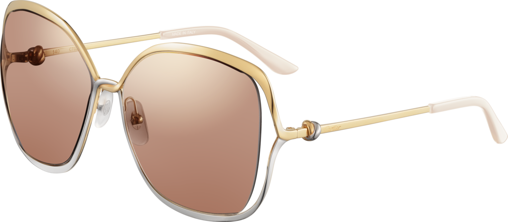 Trinity sunglassesSmooth golden-finish and platinum-finish metal, brown lenses