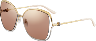 Trinity sunglasses Smooth golden-finish and platinum-finish metal, brown lenses