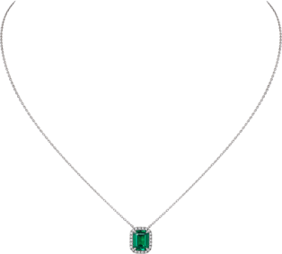 Cartier Destinée necklace with colored stone White gold, emerald, diamonds