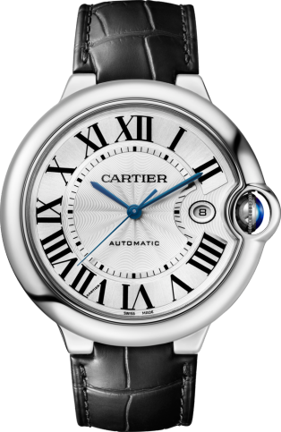 Ballon Bleu de Cartier watch 42mm, automatic movement, steel, leather