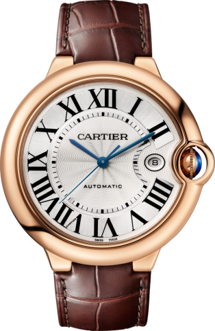 Ballon Bleu de Cartier watch 42mm, automatic movement, pink gold, leather