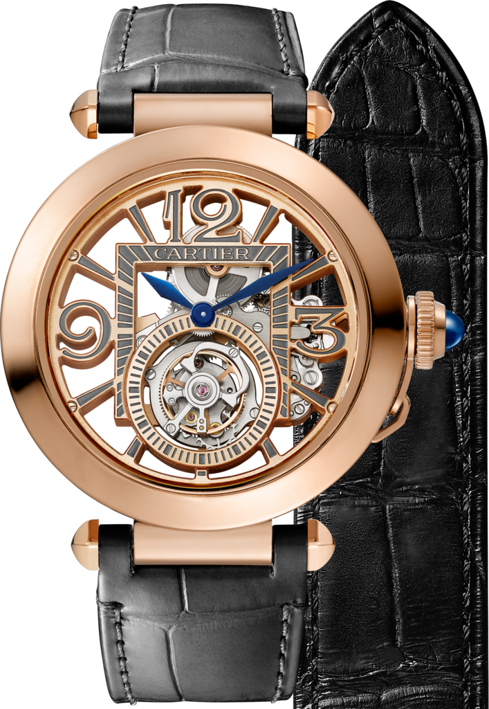 Pasha de Cartier watch41 mm, mechanical movement with manual winding, pink gold, 2 interchangeable leather straps