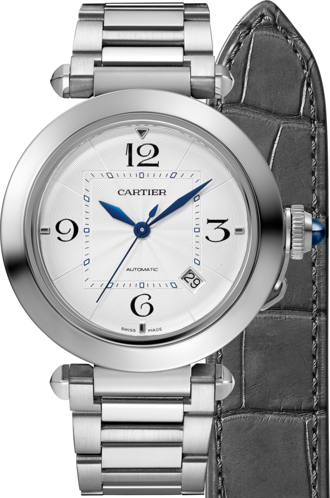 Pasha de Cartier watch41 mm, automatic movement, steel, interchangeable metal and leather straps