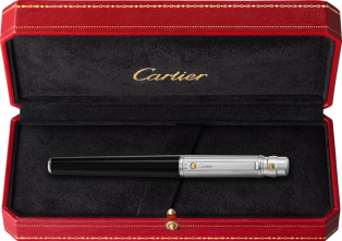 Santos de Cartier rollerball pen Large model, engraved metal, composite, palladium and gold finishes