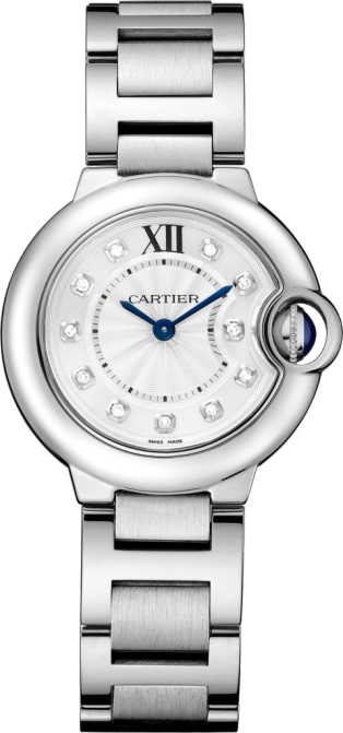 Ballon Bleu de Cartier watch 28 mm, quartz movement, steel, diamonds