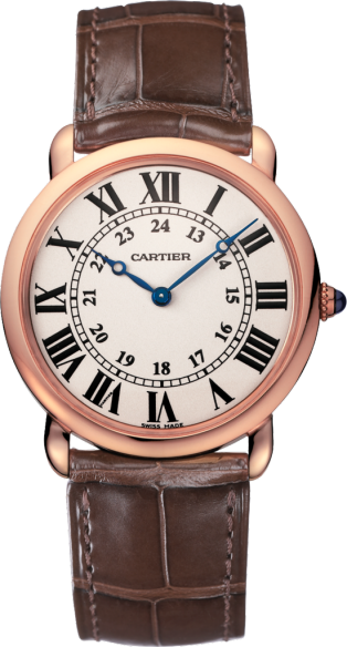 Ronde Louis Cartier watch 36 mm, pink gold, leather