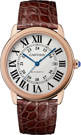 Ronde Solo de Cartier watch 42 mm, 18K pink gold, steel, leather