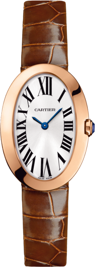 Baignoire watch, small model Small model, quartz movement, pink gold, leather