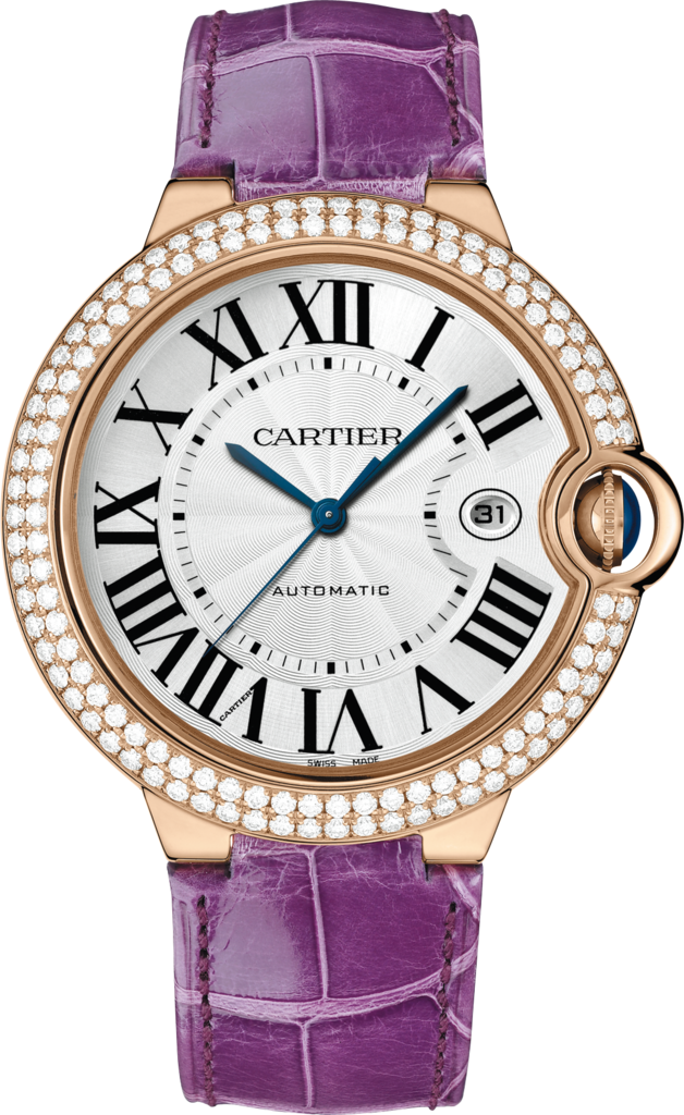 Ballon Bleu de Cartier watch42mm, automatic movement, rose gold, diamonds, leather