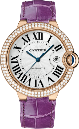 Ballon Bleu de Cartier watch 42mm, automatic movement, rose gold, diamonds, leather