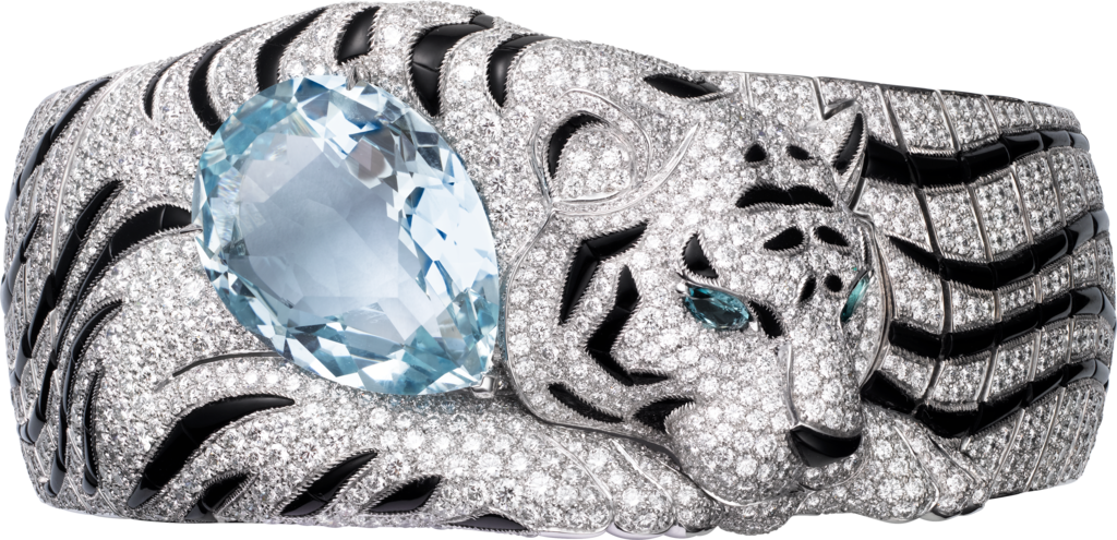 Cartier High Jewelry Fauna and Flora braceletWhite gold, aquamarine, tourmalines, onyx, diamonds