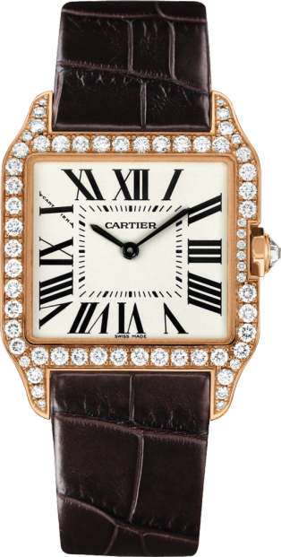 Santos-Dumont watch Small model, 18K pink gold, leather, diamonds