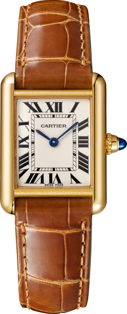 Tank Louis Cartier watchSmall model, 18K yellow gold, leather, sapphire