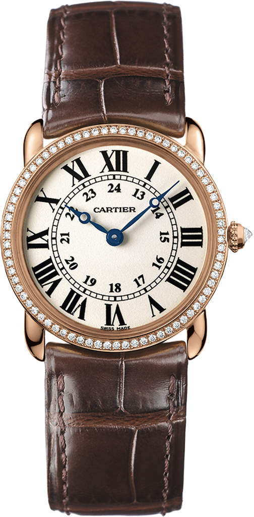 Ronde Louis Cartier watch29 mm, pink gold, leather, diamonds