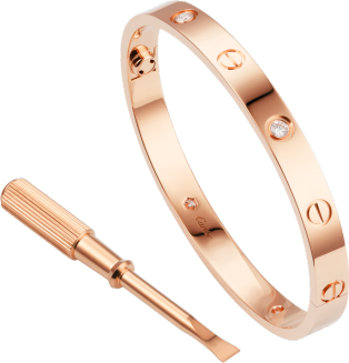 Love bracelet, 4 diamonds Pink gold, diamonds