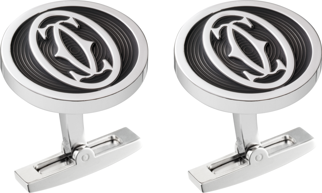 Double C logo decor cufflinksSterling silver, palladium finish, black lacquer