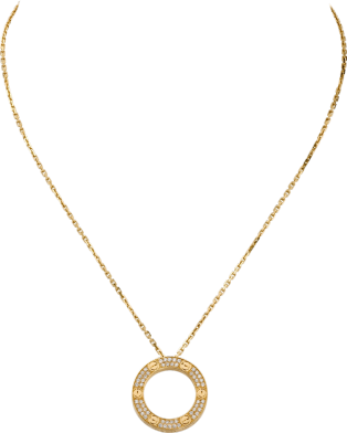 <span class='lovefont'>A </span> necklace, diamond-paved Yellow gold, diamonds