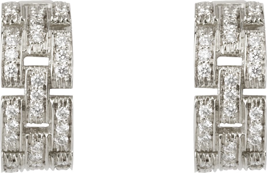 Maillon Panthère earrings, 3 diamond-paved rowsWhite gold, diamonds