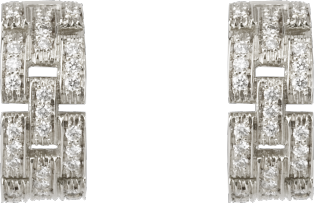 Maillon Panthère earrings, 3 diamond-paved rows White gold, diamonds