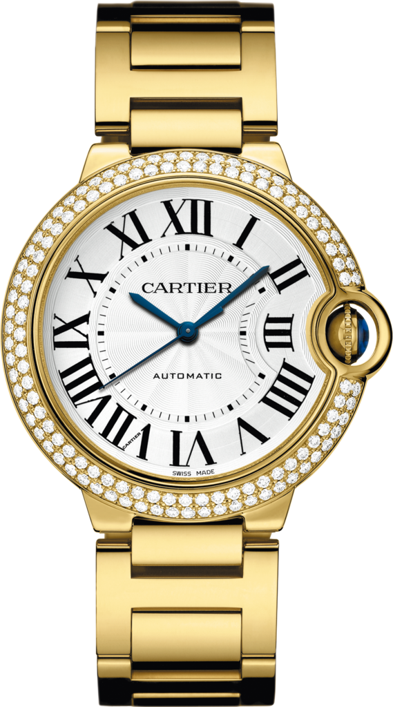 Ballon Bleu de Cartier watch36 mm, 18K yellow gold, diamonds, sapphire