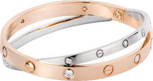 Love bracelet, 12 diamonds Pink gold, white gold, diamonds