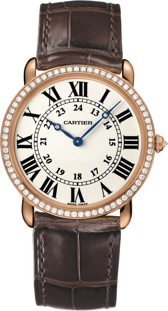 Ronde Louis Cartier watch36 mm, 18K pink gold, leather, diamonds