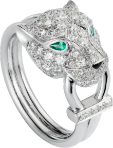 Panthère de Cartier ring White gold, diamonds, emeralds, onyx